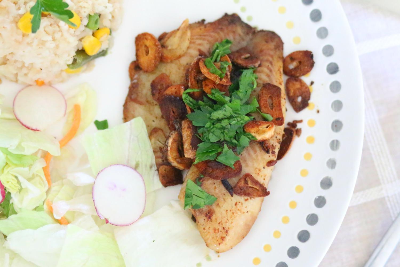 Filete de Tilapia al mojo de ajo