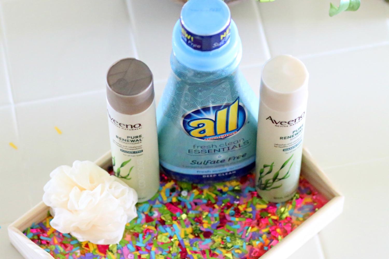 all and AVEENO tutorial confetti tray diy