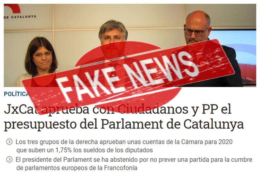 JxCAT pacta con C's y PP los presupuestos, primera fake news de ERC de 2020