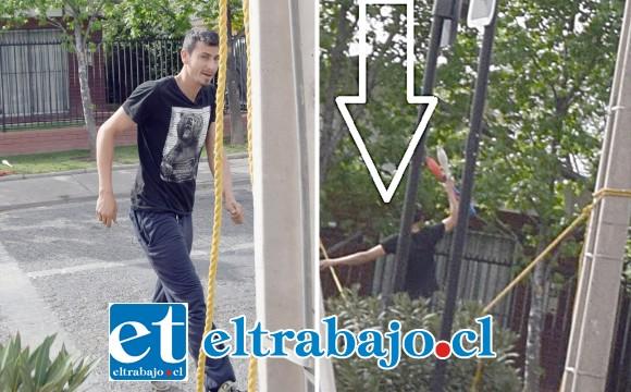 Las cámaras de Diario El Trabajo registran el momento en que este joven intenta quitar la cuerda al sentirse fotografiado cuando se equilibraba en la misma.