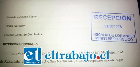 La denuncia ante la fiscalía fue interpuesta el 18 de octubre.