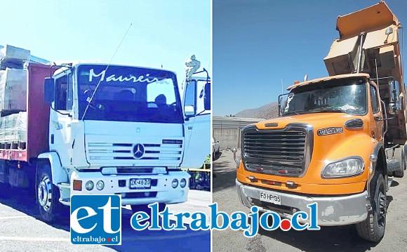 A la izquierda uno de los camiones robados la madrugada de este sábado desde el taller ubicado en calle Tacna s/n en San Felipe, cercano a Villa Deparamental. El valor aproximado es de $25 millones. A la derecha el camión de propiedad de Roque Pizarro, avaluado en $35.000.000.