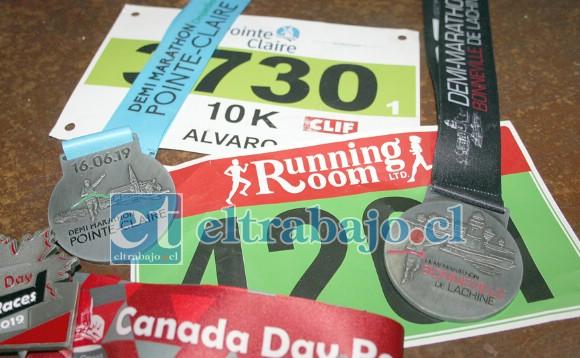 TREMENDOS LOGROS.- Aquí están sus medallas obtenidas en los cincos meses que Álvaro compitió en Canadá.