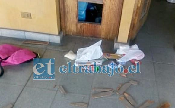 Acá se observan los daños dejados por el solitario delincuente que ingresó con claras intenciones de robar en la Parroquia de Nuestra Señora de La Merced.