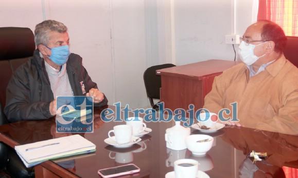 El alcalde Sergio Zamora se reunió con el gobernador Clauido Rodríguez para pedirle un control sanitario para Putaendo y así fiscalizar a las personas que ingresen a la comuna durante Fiestas Patrias.