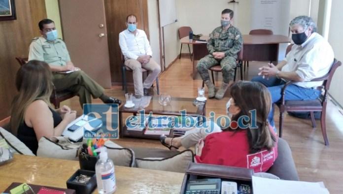 Autoridades políticas, Salud, Ejército y Carabineros se reunieron para coordinar los planes de acción tras el retroceso de Catemu a Fase 2 del plan 'Paso a Paso'.