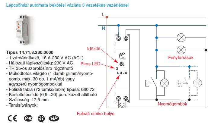 Lépcsőházi automata bekötési vázlata 3 vezetékes vezérléssel - Finder 14.71.8.230.000