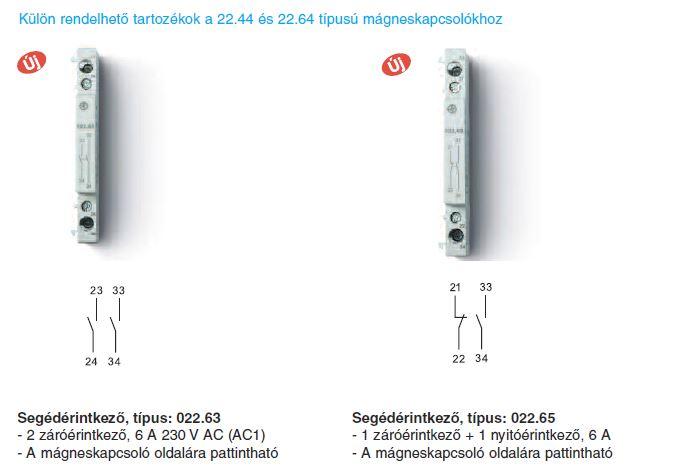 Külön rendelhető tartozékok Finder 22.42 és 22.64 mágneskapcsolókhoz - Két záróérintkezős segédérintkező - Finder 022.63 - 1 záró + 1 nyitóérintkezős segédérintkező - Finder 022.65