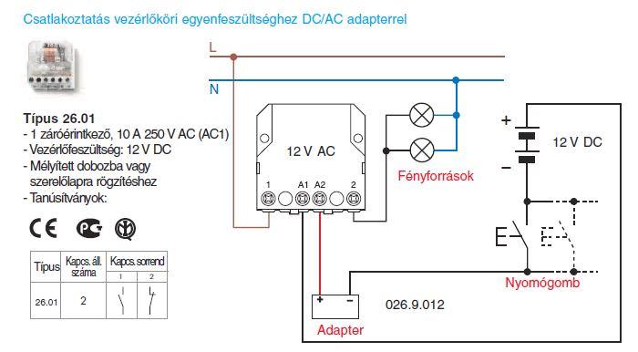Csatlakoztatás vezérlőköri egyenfeszültséghez DC/AC adapterrel - Finder 26.01 léptető-relé, 1 záróérintkező