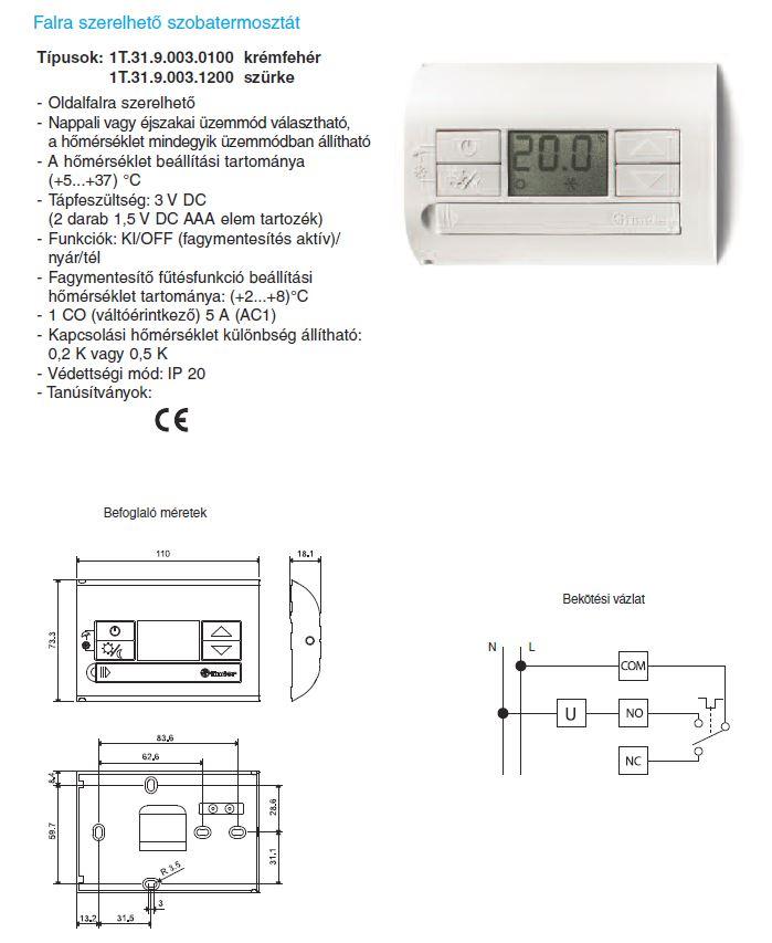 Finder 1T.31.9.003 - falra szerelhető LCD kijelzős szobatermosztát