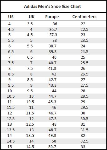 Adidas Shoe Sizes Chart