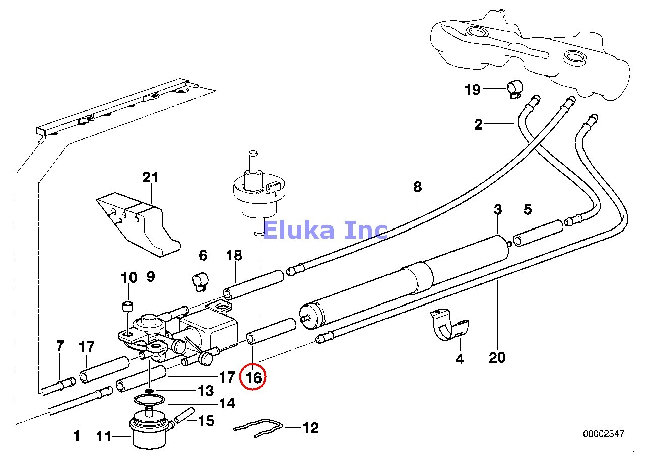 Bmw Genuine Fuel Filter Feed Fuel Supply Hose Elbow E36