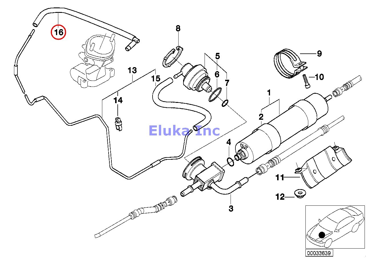 Bmw Genuine Fuel Filter Pressure Regulator Vacuum Pipe E39
