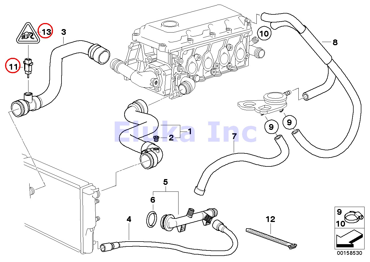 Bmw Genuine Radiator Coolant Temperature Sensor With O