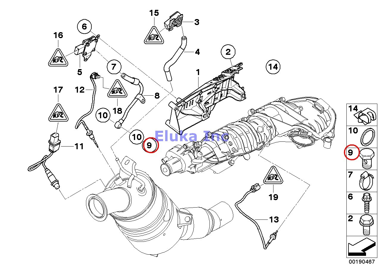 Bmw Genuine Exhaust Manifold Fuel Injection 5 Hollow Bolt