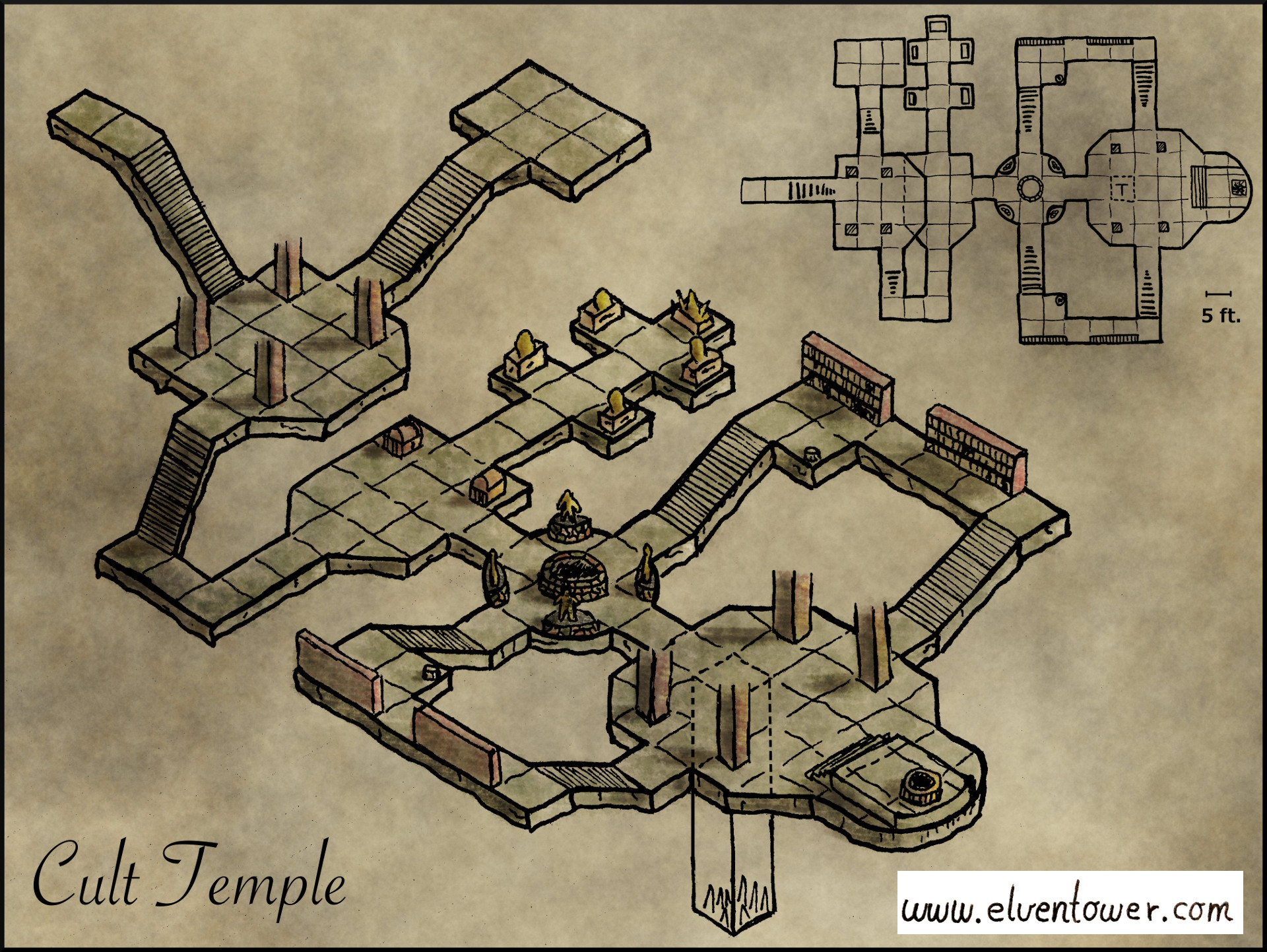 Map 21 Cult Temple Elven Tower