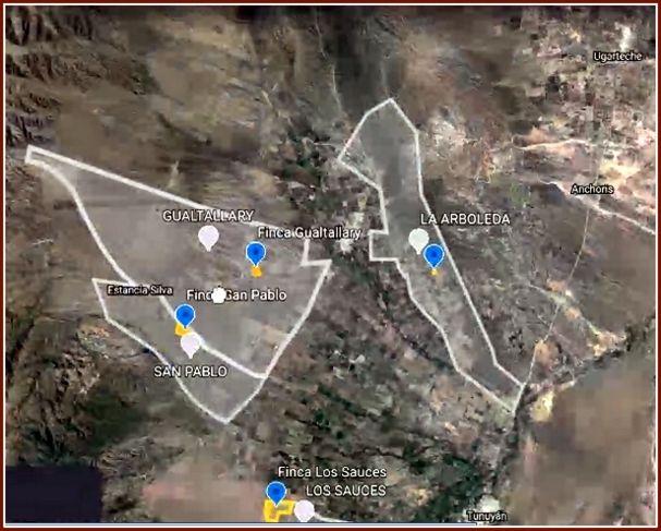 Vista aérea de la ubicación de las fincas