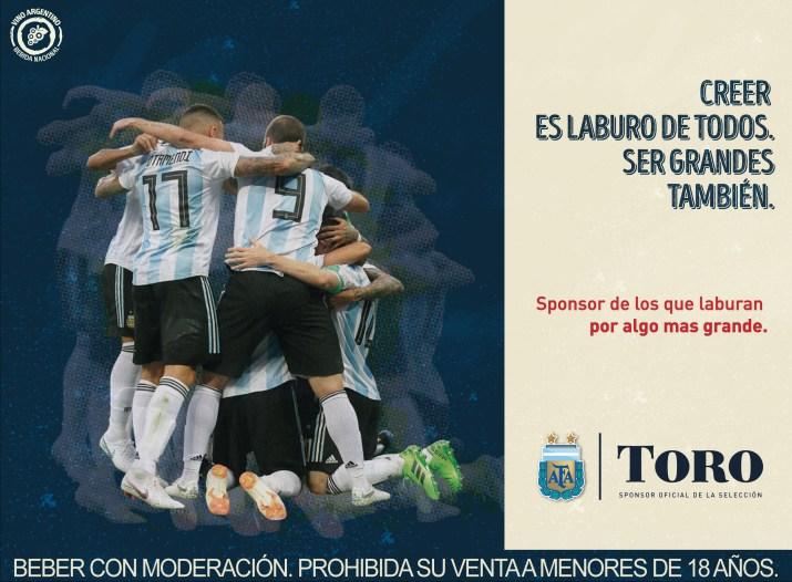 Toro Sponsor de la selección Argentina Qatar 2022