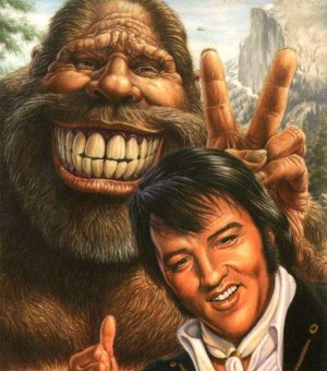 Good Omens: painting of Elvis with Bigfoot.