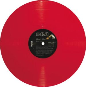 Final Album: photo of MOODY BLUE LP record on red vinyl.