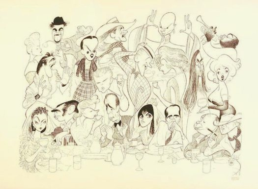 "Hirschfeld and Elvis: Hirschfeld's drawing of 20 celebrities titled ""There's No Business Like Show Business."""