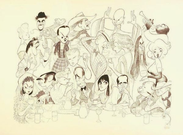 """Hirschfeld and Elvis: Hirschfeld's drawing of 20 celebrities titled """"There's No Business Like Show Business."""""""