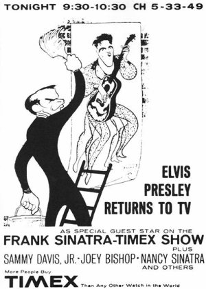 Hirschfeld and Elvis: Hirschfeld's drawing for the ad for the Frank Sinatra television special from 1960.