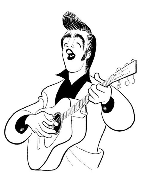 First Published Caricature: drawing of Elvis by Al Hirschfeld for Collier's magazine in 1956.