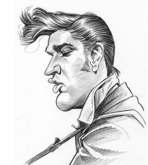 Golden Caricatures Volume 3: caricature of Elvis by Tom Richmond.