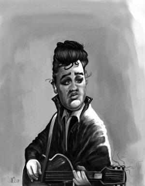 Golden Caricatures Volume 3: caricature of Elvis by Nelson Santos.