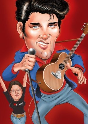 Golden Caricatures Volume 4: caricature of Elvis by Gary Tymon.