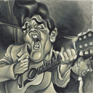 Golden Caricatures Volume 2: caricature of Elvis by Joan Vizcarra.