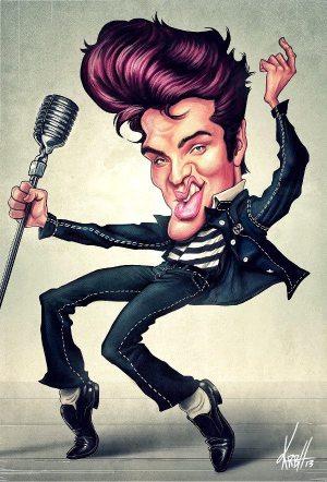 Golden Caricatures Volume 2: caricature of Elvis by Ken Robert Hansen.