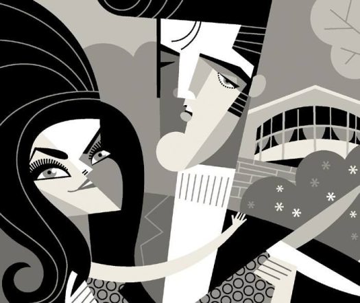 Golden Caricatures Volume 6: Elvis and Priscilla in 1968 by Pablo Lobato.