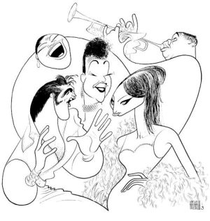 Caricatures Volume 7: Hirschfeld's drawing of Elvis, Barbra, Louis, Billie, and Ella.