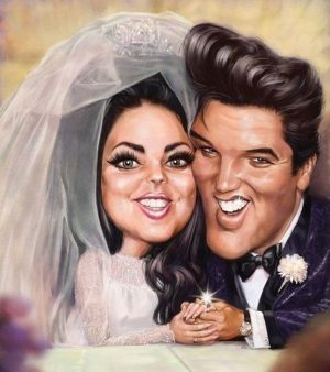 Golden Caricatures Volume 5: caricature of Elvis and Priscilla's wedding by unknown artist.