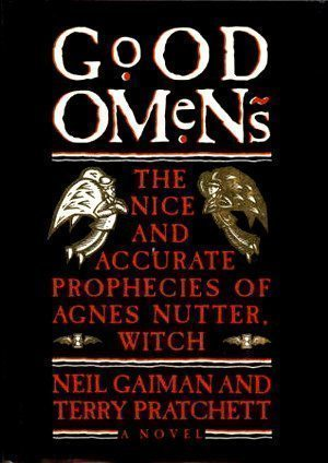 Cover of the first American edition of GOOD OMENS.