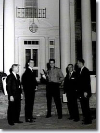 Elvis Presley poses with his new fraternity brothers - Graceland