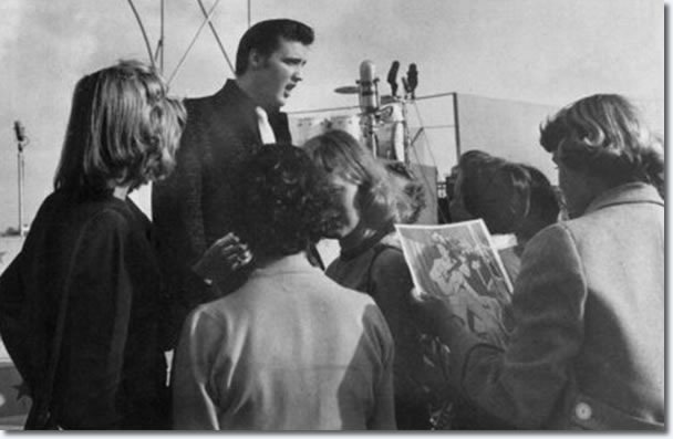 Elvis with fans at San Diego : April. 3, 1956.