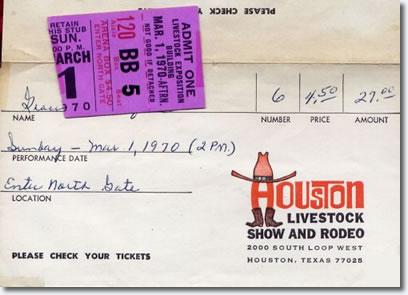 Elvis Presley : Houston Astrodome : March 1, 1970 : Ticket