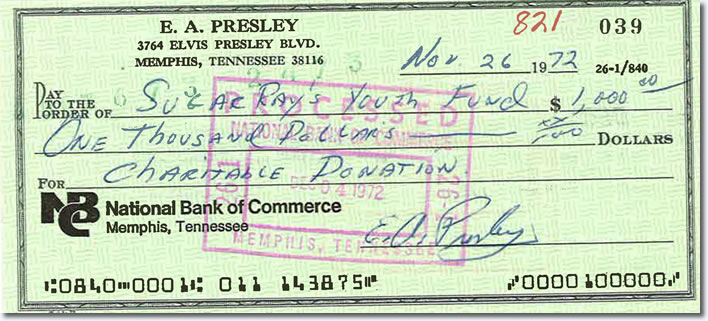 Here you can see a check Elvis wrote in 1972 to the Sugar Ray Youth Fund on November26, 1972.