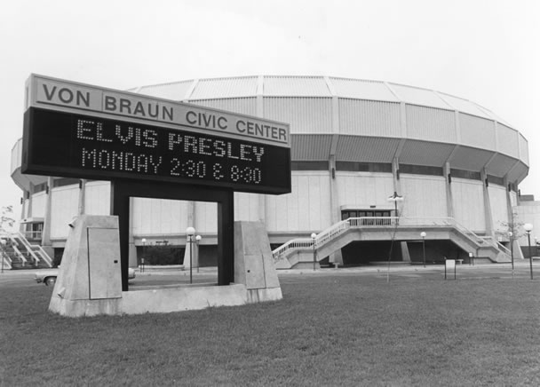 Von Braun Civic Center promoting Elvis Presley's 1976 appearance.