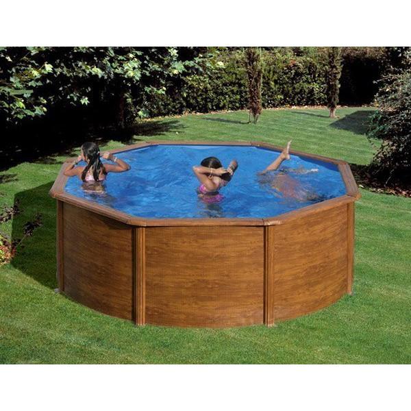 piscine hors sol acier ronde pacific aspect bois