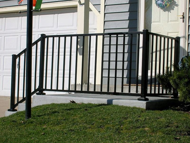 Ornamental Aluminum Iron Porch Railing By Elyria Fence | Black Aluminum Stair Railing | Exterior | Modern | Steel | Cable Rail | Deckorators