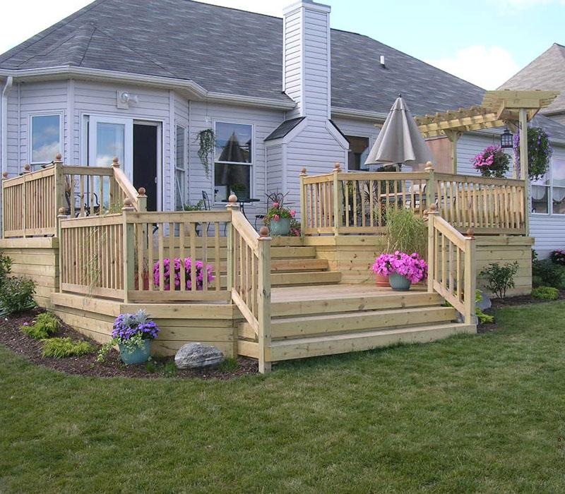 Custom Wood Deck By Elyria Fence on Wood Deck Ideas For Backyard  id=60250