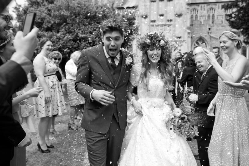 english countryside barn wedding bride groom confetti church