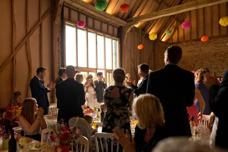 english countryside barn wedding bride groom enter reception