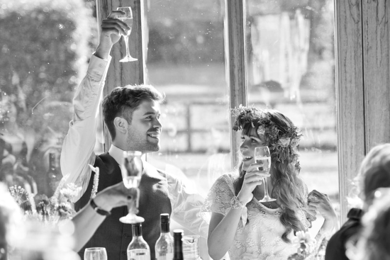 english countryside barn wedding bride groom speech toast