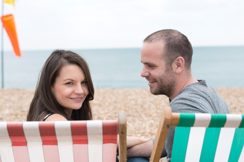 seaside engagement photography stripy deckchair