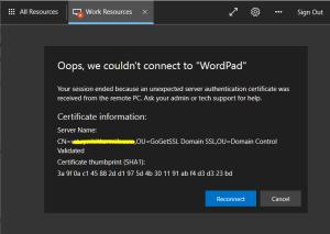 RDP HTML5 Connection error